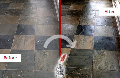 Before and After Picture of a Dull Amelia City Slate Floor Sealed to Bring Back Its Colors