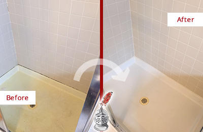 Before and After Picture of a Amelia City Shower Sealed to Remove and Protect Against Mold