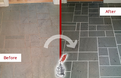 Before and After Picture of a St. Augustine Slate Floor Cleaned to Remove Deep-Seated Dirt