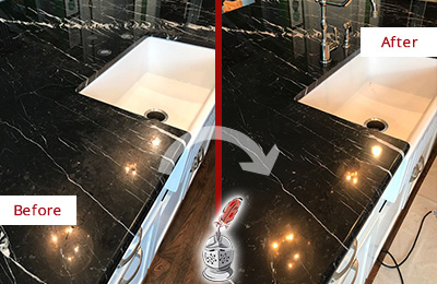 Before and After Picture of a Callahan Marble Kitchen Countertop Stone Sealed to Avoid Water Damage