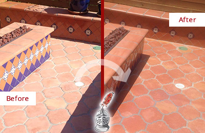 Before and After Picture of a Amelia City Hard Surface Restoration Service on a Dull Terracotta Patio Floor to Recover Its Color