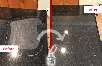 Before and After Picture of a Green Cove Springs Hard Surface Restoration Service on a Granite Countertop to Remove Scratches