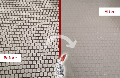 Before and After Picture of a Yulee Hard Surface Restoration Service on a Bathroom Tile Floor Recolored to Fix Grout Color