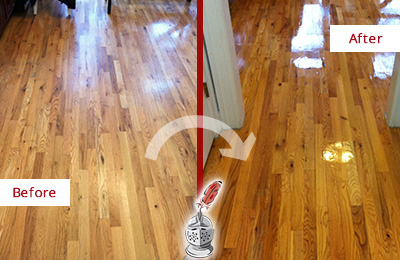 Before and After Picture of a Yulee Hard Surface Restoration Service on a Worn Out Wood Floor