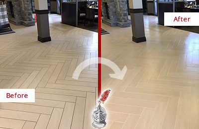 Before and After Picture of a Fleming Island Lobby Floor Cleaned to Even the Grout Color