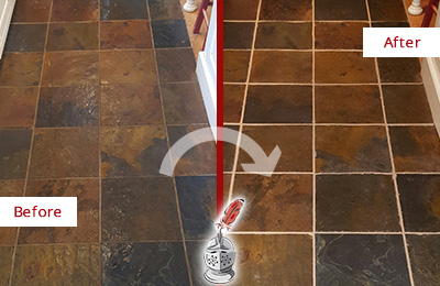 Before and After Picture of a Middleburg Slate Floor Recolored Grout