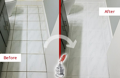 Before and After Picture of a Yulee White Ceramic Tile with Recolored Grout