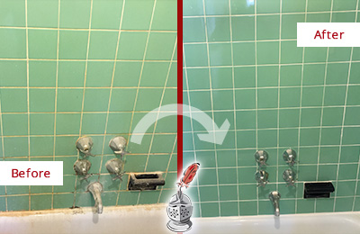 Before and After Picture of a Green Cove Springs Bath Tub Grout Sealed to Avoid Water Damage