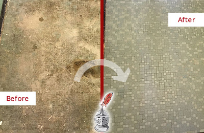 Before and After Picture of a Jacksonville Beach Mosaic Shower Cleaned to Eliminate Embedded Dirt