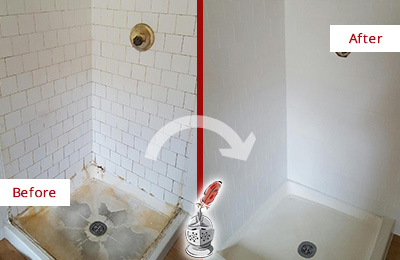 Before and After Picture of a Jacksonville Beach Shower Cleaned to Eliminate Mold