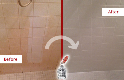 Before and After Picture of a Jacksonville Beach Porcelaine Shower Cleaned to Remove Soap Scum