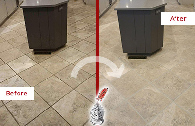 Before and After Picture of a Jacksonville Beach Kitchen Floor Cleaned to Remove Stains
